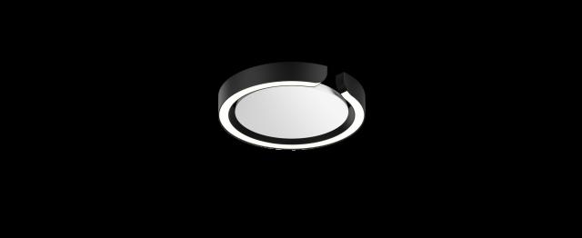 Mito soffitto 20 up »air« wide schwarz matt, base weiß matt von Occhio