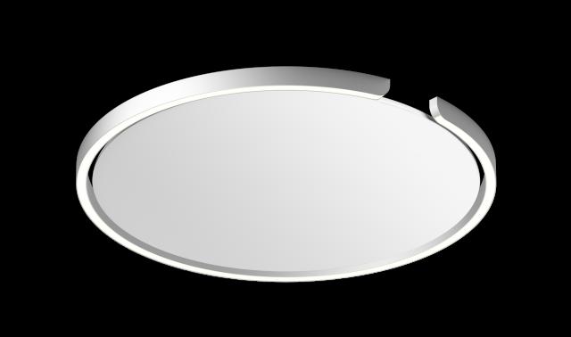 Mito soffitto 60 up »air« narrow silber matt, base weiß matt von Occhio