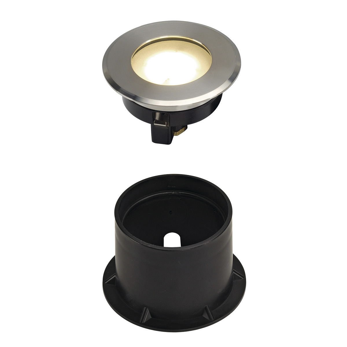 DASAR FLAT LED 230V Bodenein- baustrahler, rund, 4,3W LED, warmweiss, Edelstahlblende